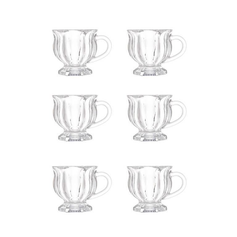 JOGO COM 6 XICARAS EM CRISTAL PARA CAFE COM PE 142ML