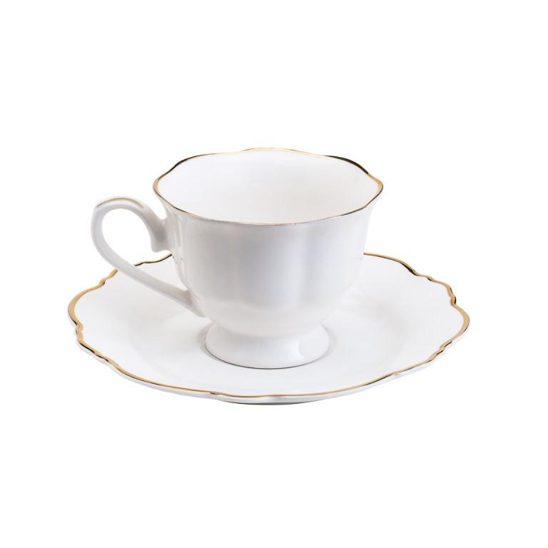 CONJUNTO DE 6 XICARAS DE CAFE EM PORCELANA BRANCA COM FRIO DOURADO 80ML