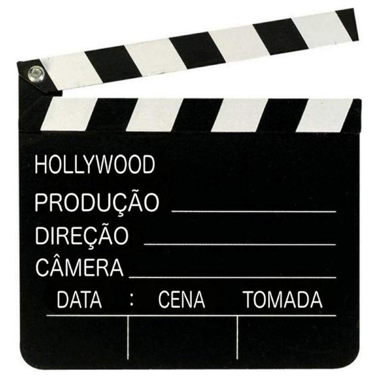 CLAQUETE DE FILME HOLLYWOOD PRETA MDF 29X27CM