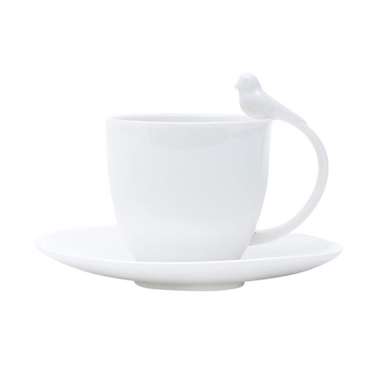 CONJUNTO DE  6 XICARAS DE CAFE COM PIRES PORCELANA BIRDS 85ML