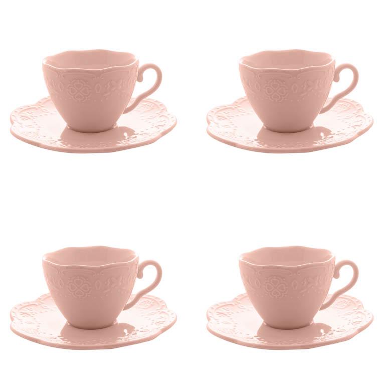 CONJUNTO COM 4 XICARAS COM PIRES  DE CAFE EM PORCELANA BUTTERFLY ROSA 120ML