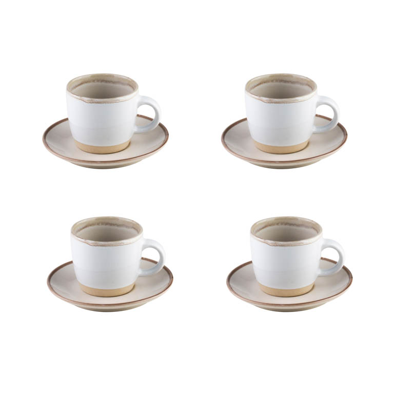CONJUNTO DE 4 XICARAS E PIRES PARA CAFE GOOD VIBES OFF WHITE 115ML