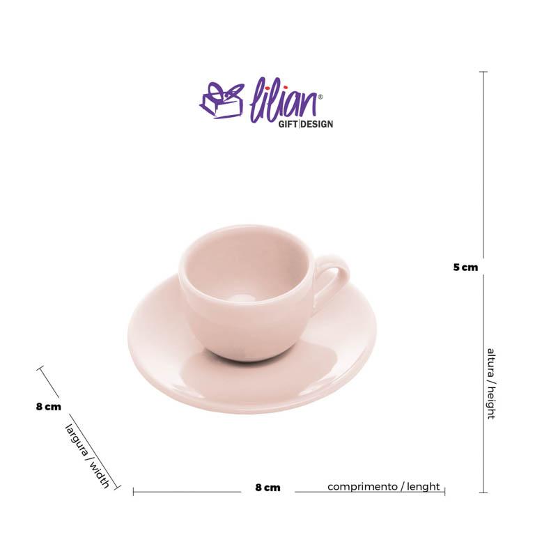 CONJUNTO DE  6 XÍCARAS E PIRES PARA CAFE EM PORCELANA ANTALIA ROSA 125ML