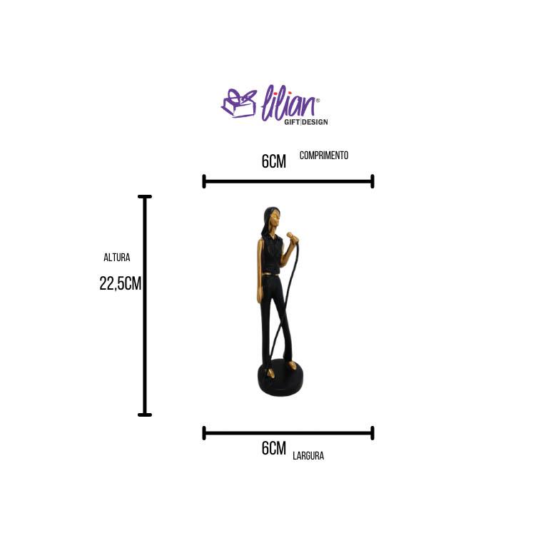 ESCULTURA MUSICAL MULHER CANTANDO EM RESINA 22,5CM