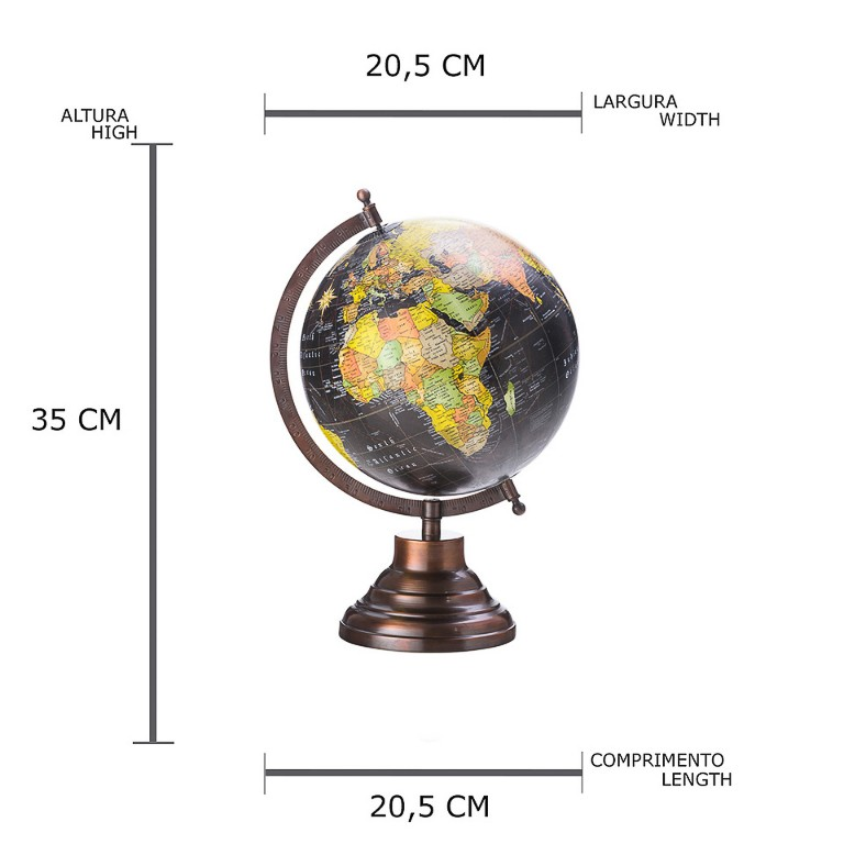 GLOBO LYOR MAPA MUNDI GIRATORIO 32CM