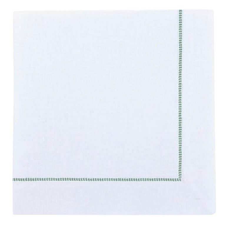 GUARDANAPO DE LINHO OFF WHITE COM PNTO AJOUR VERDE 50X50CM