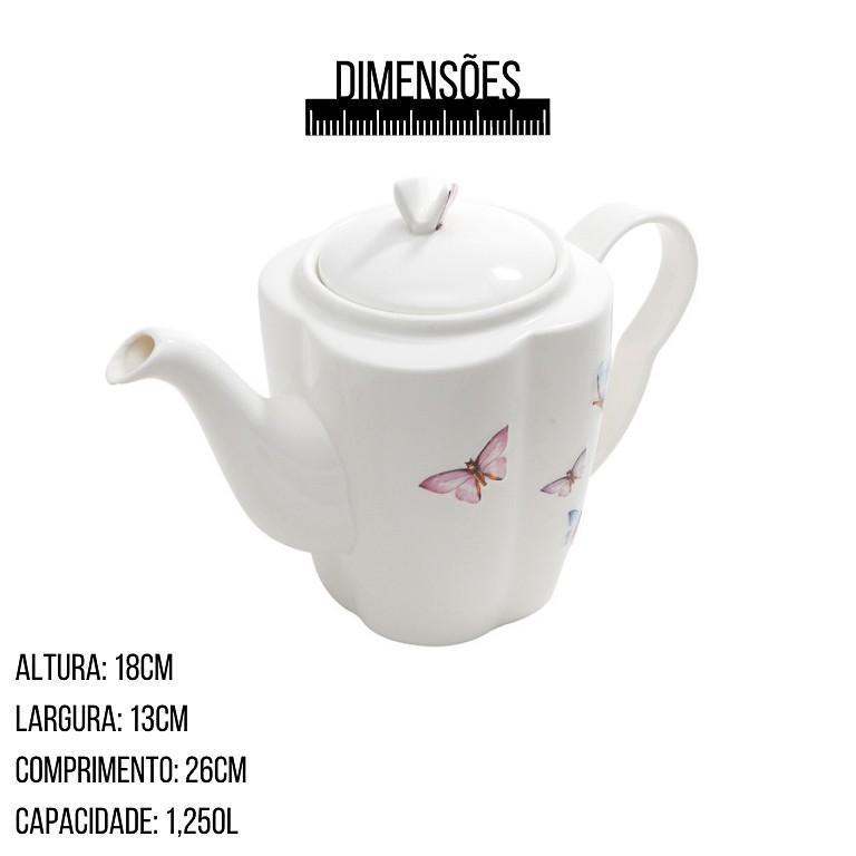 JOGO COM 3 PEÇAS EM PORCELANA PARA CAFE BORBOLETA