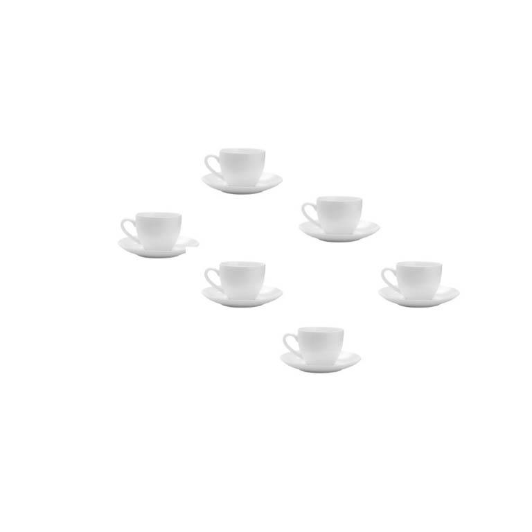 JOGO 6 XÍCARAS CAFÉ PORCELANA CLEAN BRANCA 100ML