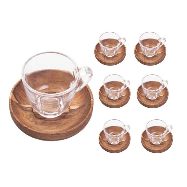 JOGO 6 XICARAS CAFE WOOD ART COM PIRES MADEIRA TECA 75ML