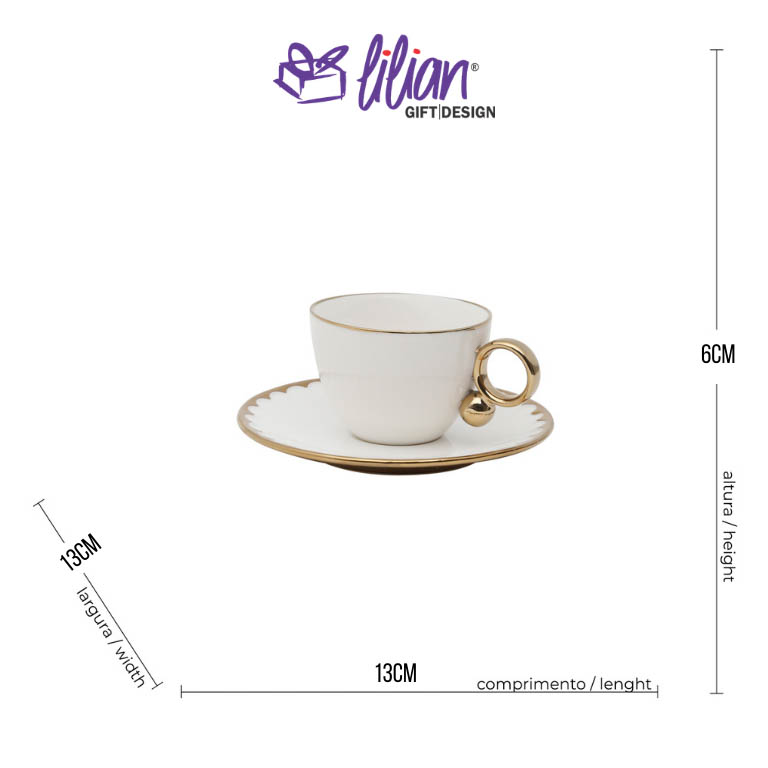 JOGO COM 6 XICARAS EM PORCELANA PARA CAFE COM  PIRES EGG 90ML