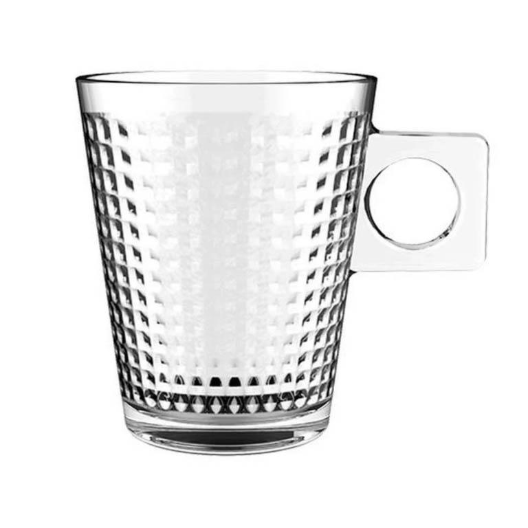 JOGO COM 6 XICARAS PARA CAFE SQUARE COFFEE VIDRO 80ML