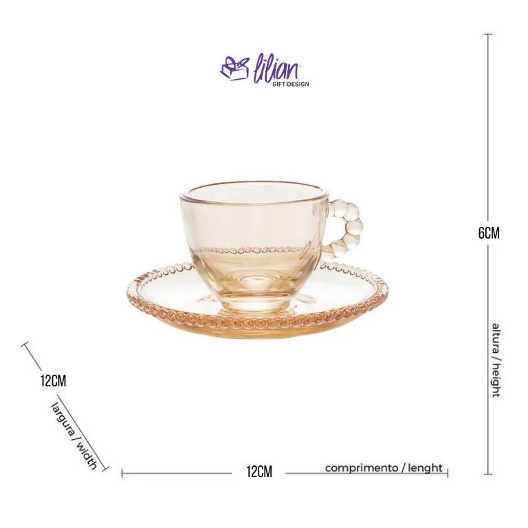 JOGO COM 4 XICARAS PARA CAFE E PIRES CRISTAL AMBAR PEARL 100ML