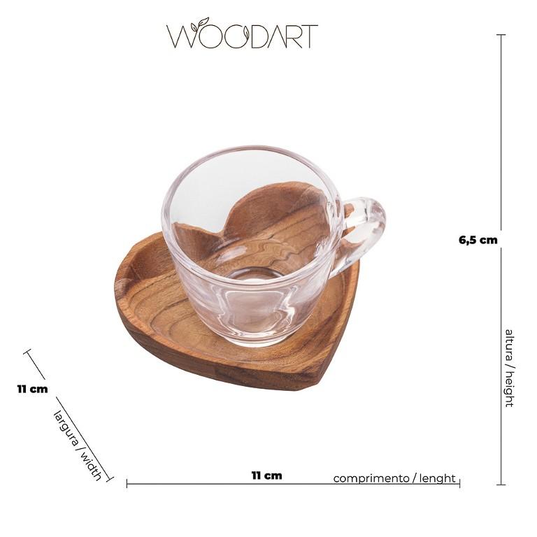JOGO DE 6 XICARAS CAFE WOOD ART PIRES CORAÇAO MADEIRA TECA 75ML