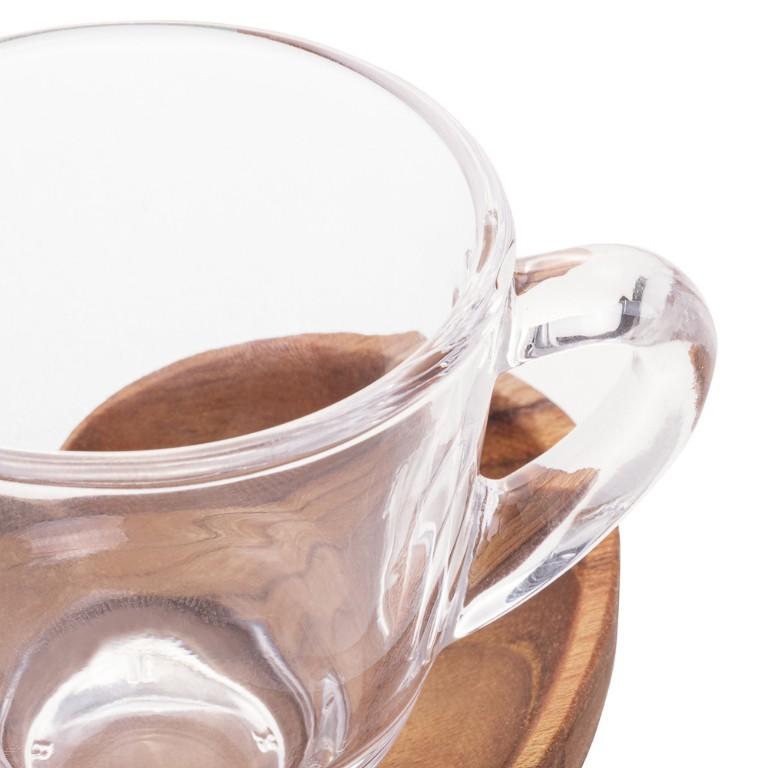 JOGO 2 XICARAS CAFE COM PIRES E SUPORTE EM MADEIRA TECA CORAÇÃO 75ML