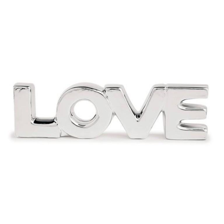 LOVE LETRAS PRATA EM PORCELANA