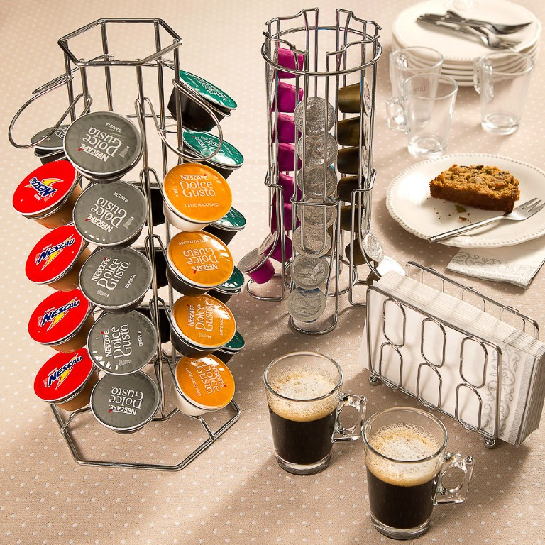 SUPORTE 30 CAPSULAS CAFE DOLCE GUSTO METAL CROMADO 35,5x16,5CM