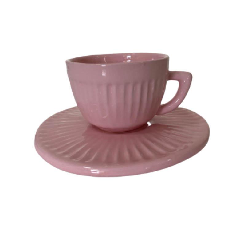 XICARA PARA CAFE COM PIRES CANELADO ROSA 140ML