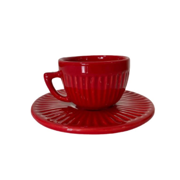 XICARA PARA CAFE COM PIRES CANELADO VERMELHO 140ML