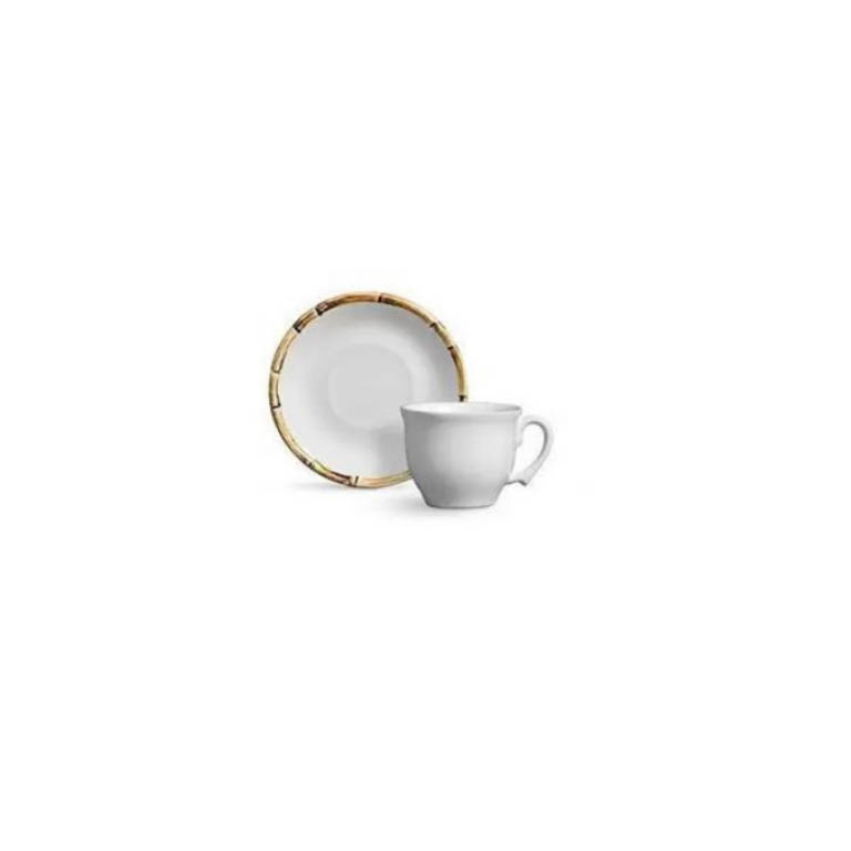 XICARA PARA CAFE EM CERAMICA COM PIRES EM BAMBU 80ML