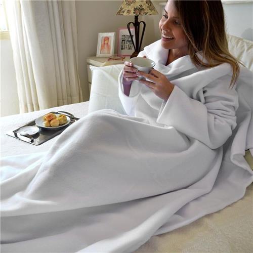 Cobertor com Mangas - Branco Liso