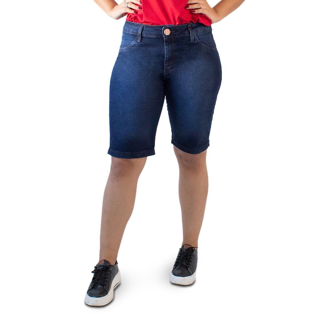 Bermuda Ciclista Jeans Escuro Feminina Plus Size Anticorpus