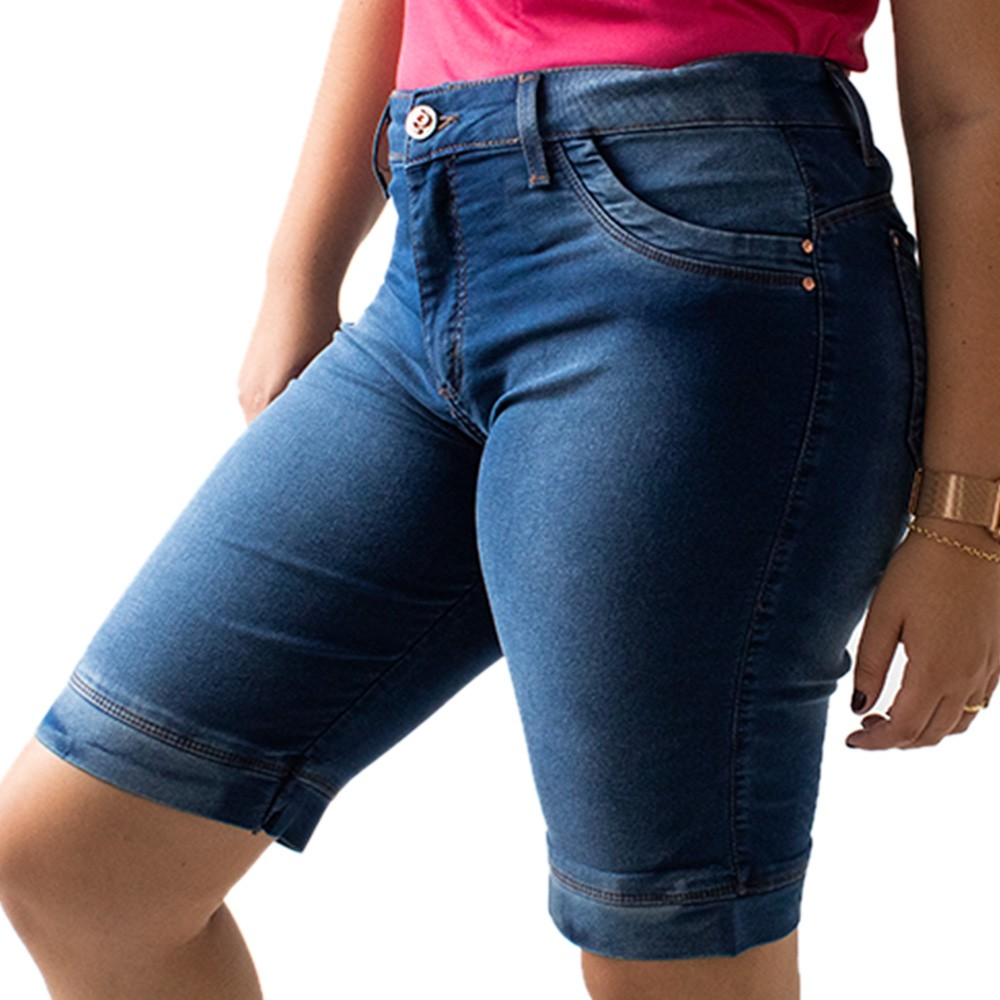 Bermuda Ciclista Jeans Feminina Plus Size Anticorpus