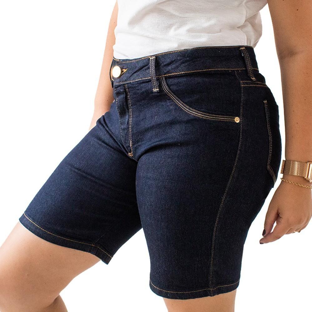 Bermuda Ciclista Jeans Feminina Plus Size Cintura Alta Anticorpus