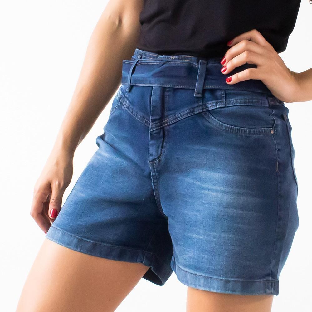 Bermuda Clochard Feminina Jeans Escuro Com Cinto Anticorpus