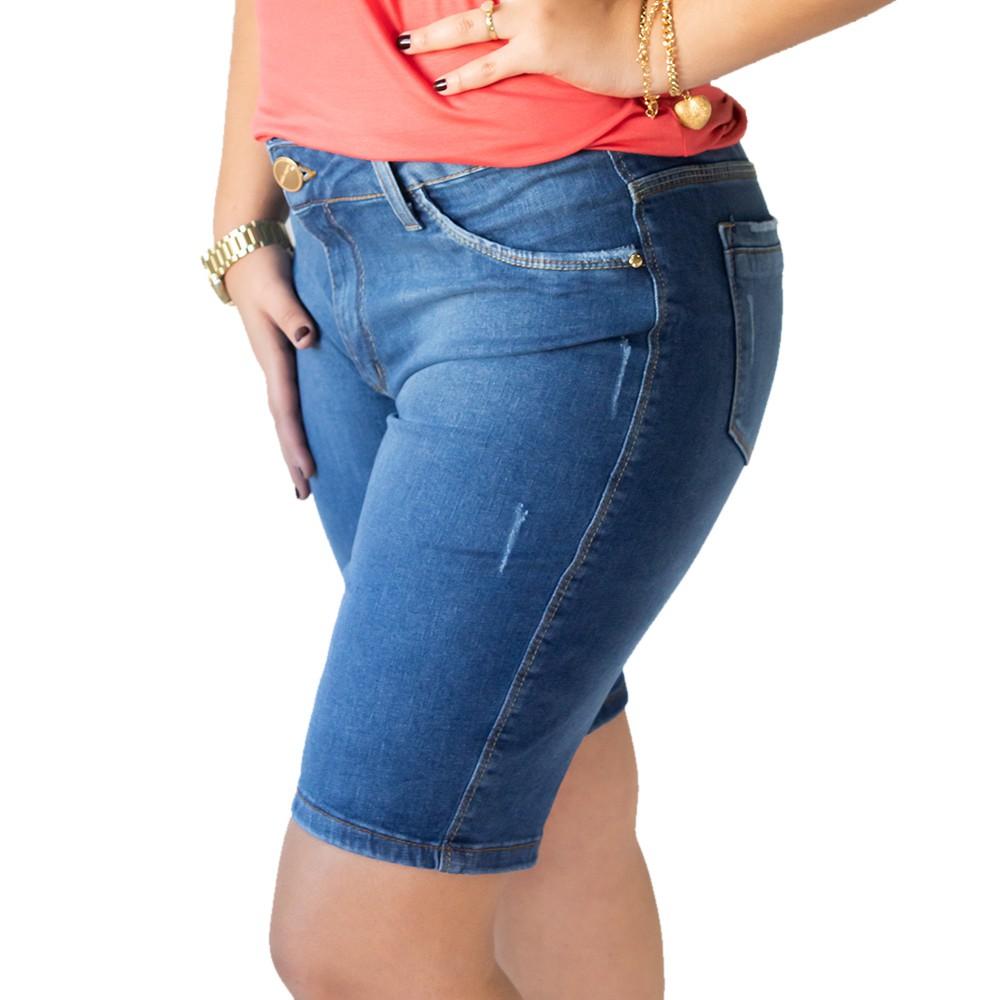Bermuda Feminina Jeans Ciclista Plus Size Elastano Anticorpus