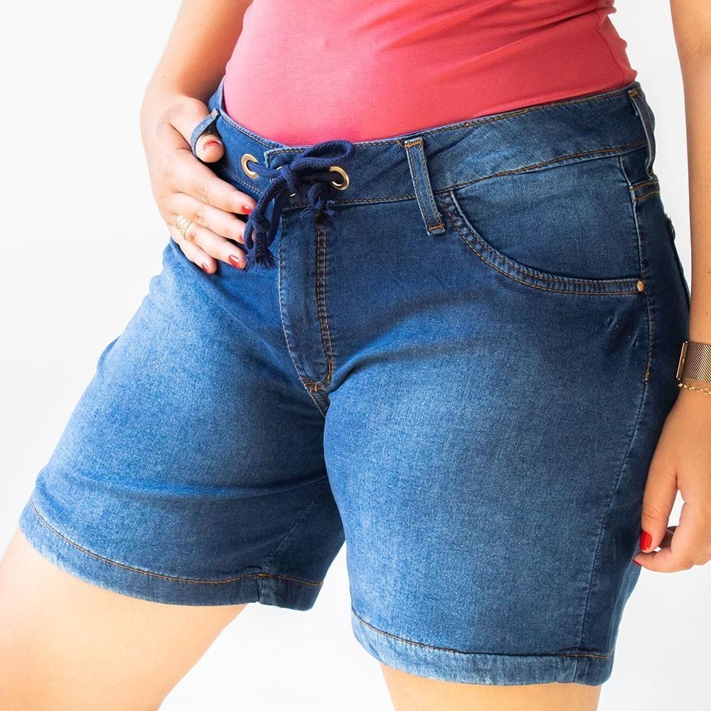 Bermuda Jeans Azul Escuro Feminina Plus Size Cordão Anticorpus