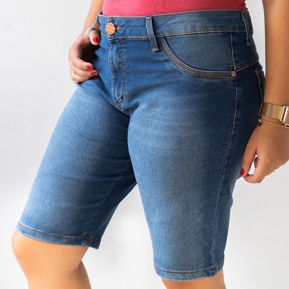 Bermuda Jeans Ciclista Feminina Plus Size Anticorpus