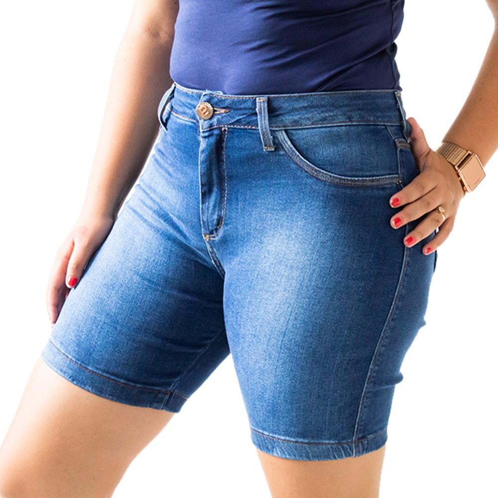 Bermuda Jeans Escuro Feminina Cintura Alta Anticorpus