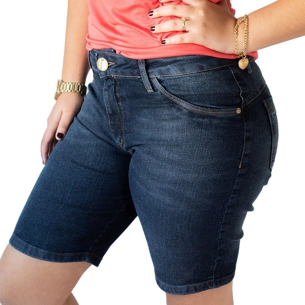 Bermuda Jeans Feminina Ciclista Plus Size Elastano Anticorpus