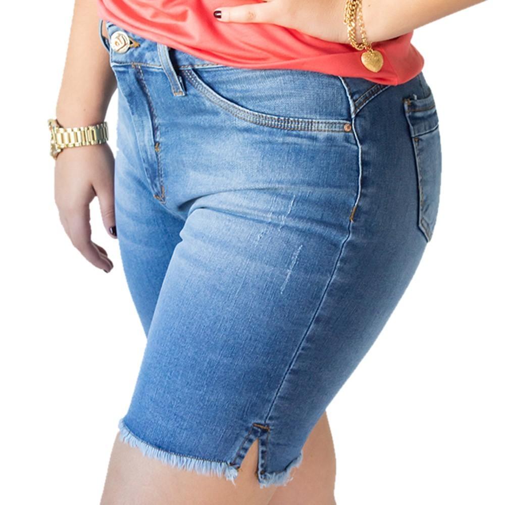 Bermuda Jeans Feminina Cintura Alta Algodão Elastano Anticorpus