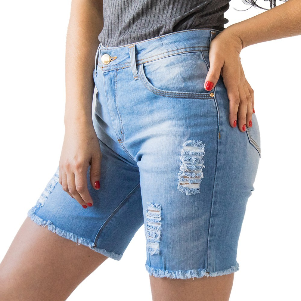 Bermuda Jeans Feminina Cintura Alta Destroyed Anticorpus