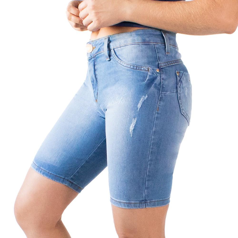 Bermuda Jeans Feminina Cintura Media Básica Puídos Anticorpus