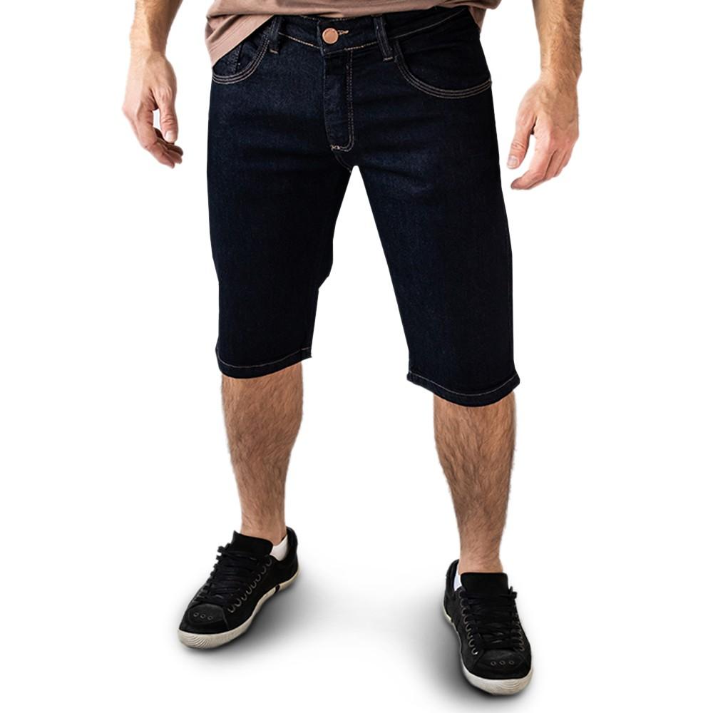 Bermuda Jeans Masculino Skinny Azul Escuro Elastano Anticorpus