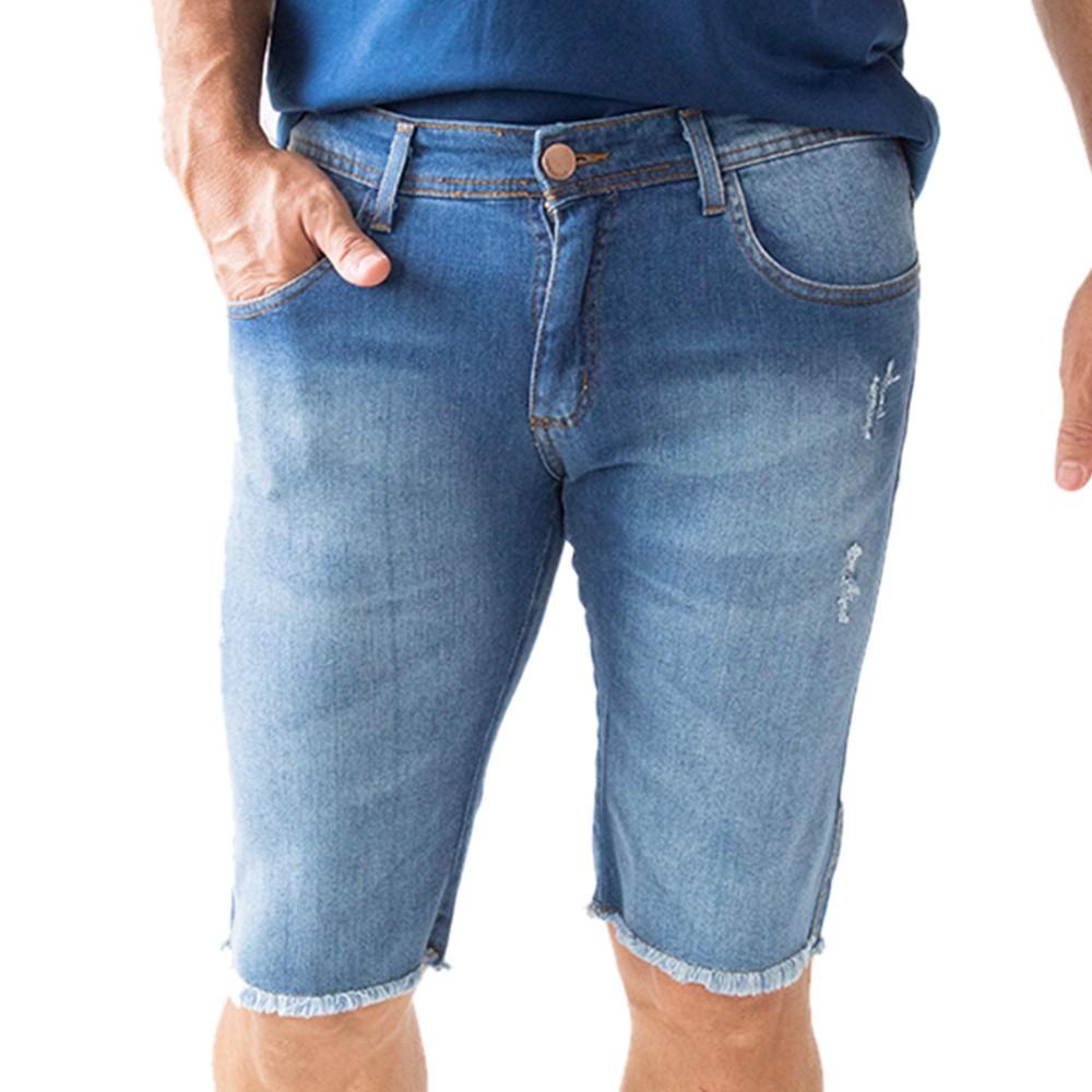 Bermuda Skinny Jeans Masculina Barra Desfiada Anticorpus