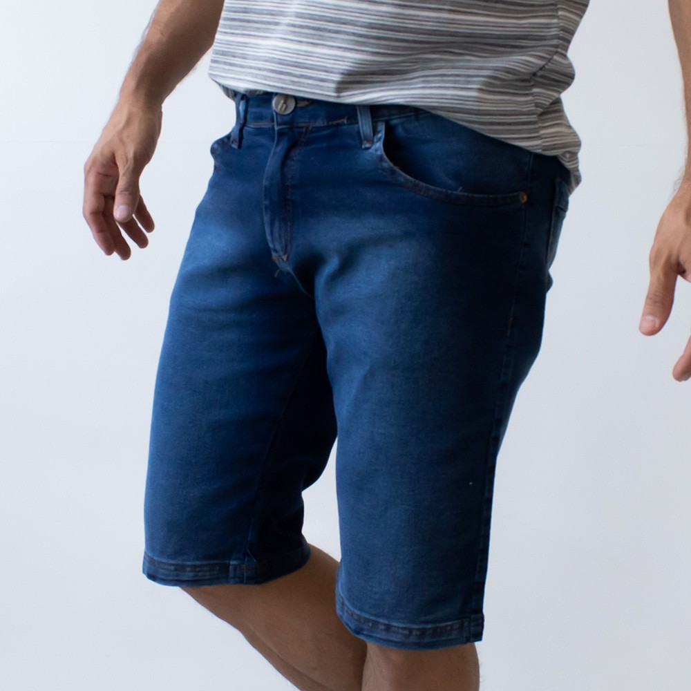 Bermuda Skinny Jeans Masculina Tradicional Escura Anticorpus