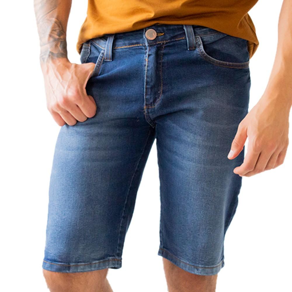 Bermuda Slim Jeans Escuro Masculina Anticorpus