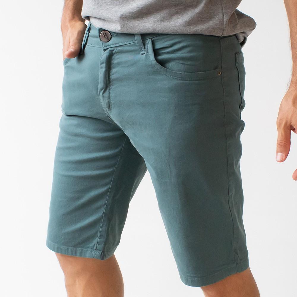 Bermuda Slim Masculina Sarja Caqui Marinho Verde Anticorpus