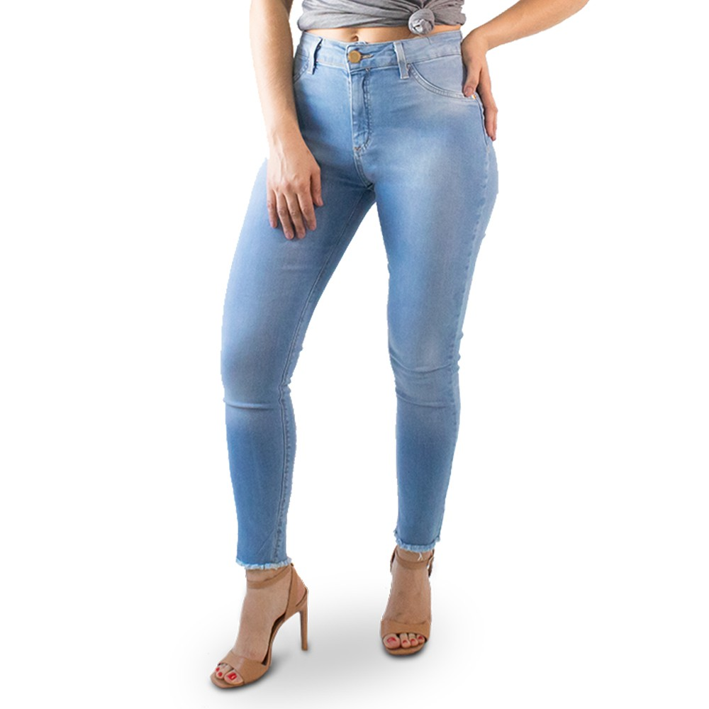 Calça Cropped Jeans Feminina Alta Barra Desfiada Anticorpus