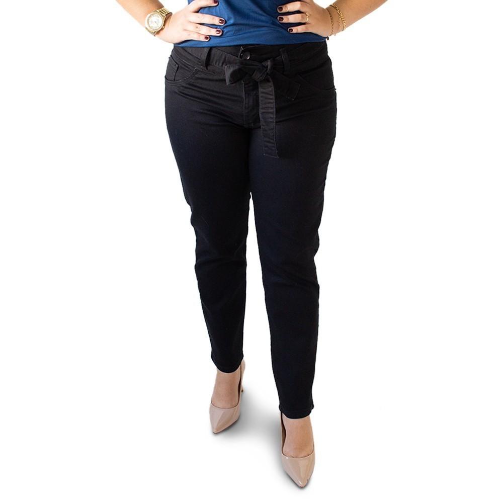 Calça Feminina Cropped Cinto Plus Size Preta Anticorpus