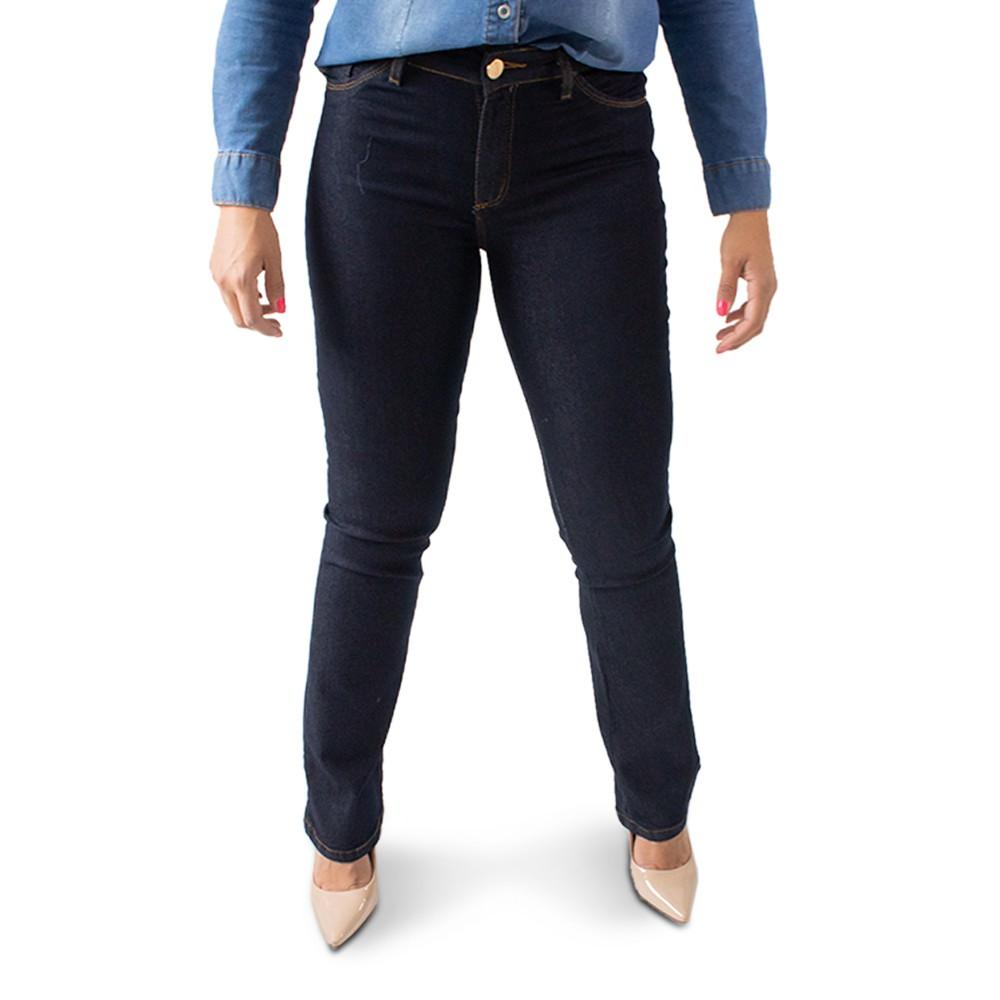 Calça Flare Jeans Escuro Feminina Cintura Alta Anticorpus