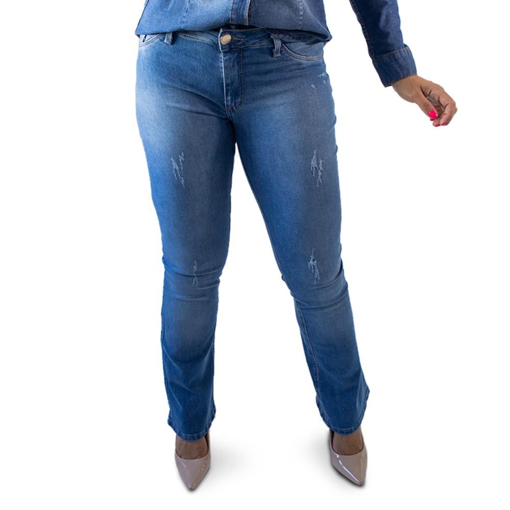 Calça Flare Jeans Feminina Puídos Media Anticorpus
