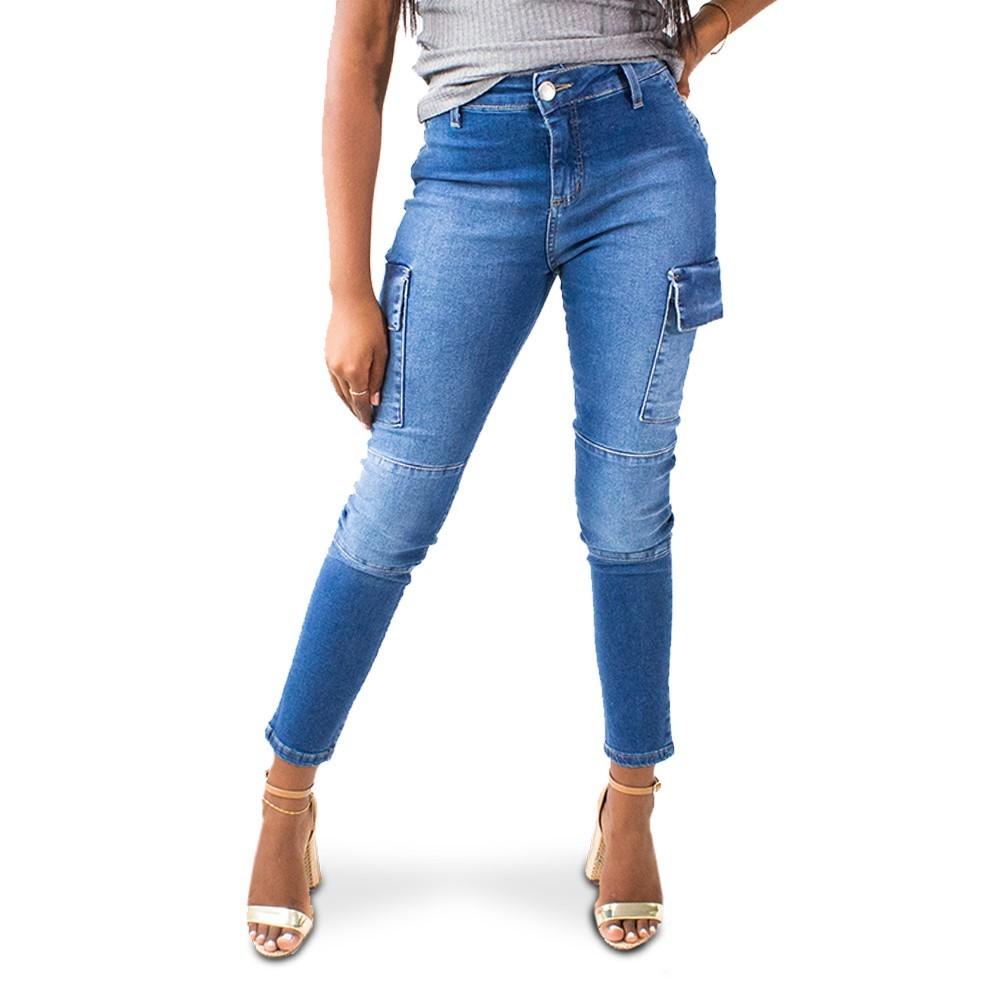 Calça Jeans Feminina Cargo Cropped Cintura Alta Anticorpus