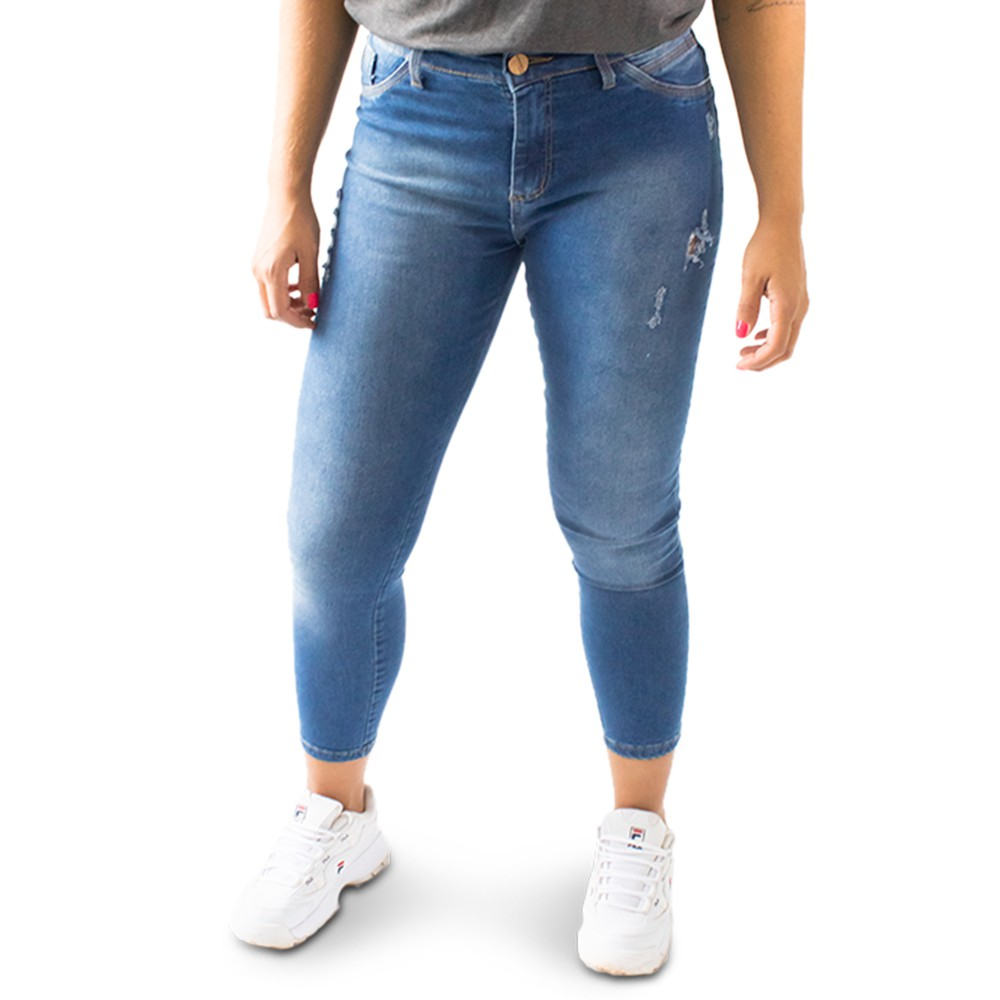 Calça Jeans Feminina Cropped Cintura Alta Destroyed Anticorpus