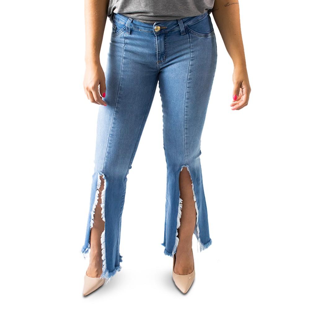 Calça Jeans Feminina Flare Média Fenda Desfiada Anticorpus