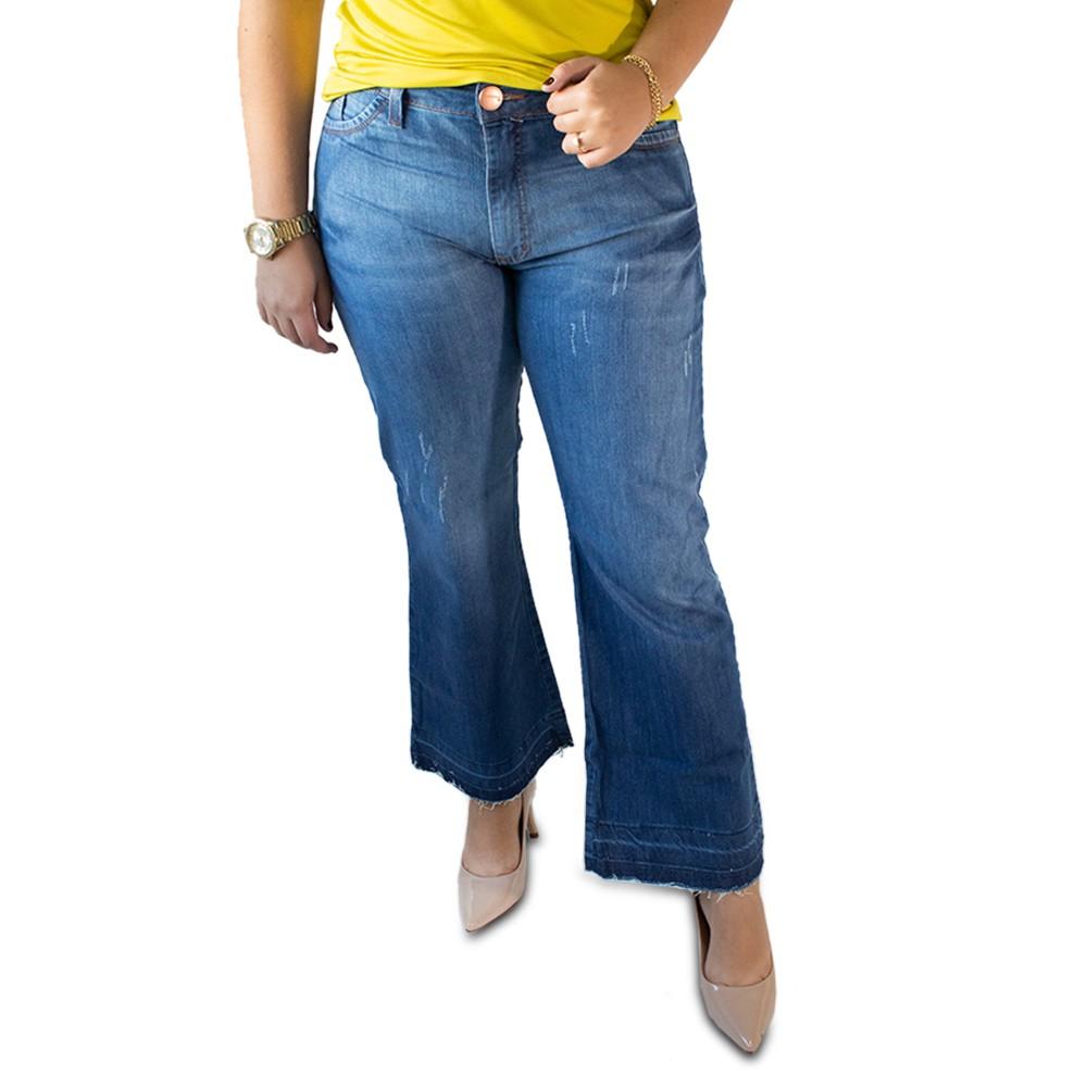 Calça Jeans Feminina Pantacourt Cintura Alta Anticorpus