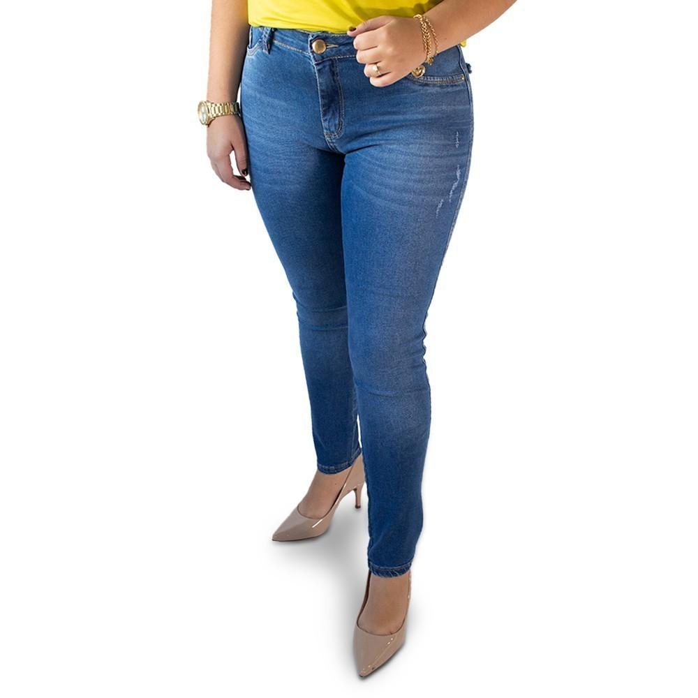Calça Jeans Feminina Skinny Cintura Alta Puídos Anticorpus